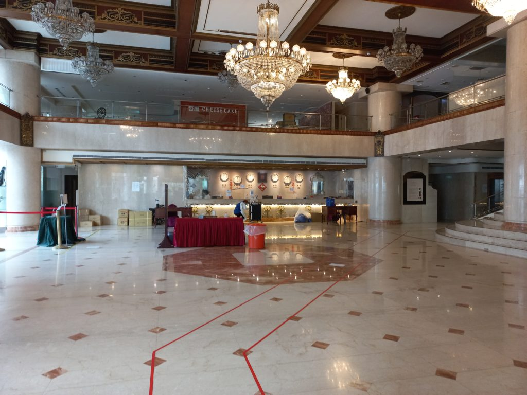 """The HiOne Gallery Hotel lobby, with no other guests in sight. (Since it's a quarantine hotel, """"regular"""" guests aren't allowed, and none of the quarantinees are allowed to leave their rooms.)"""